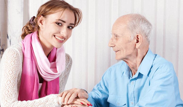 elderly with his companion